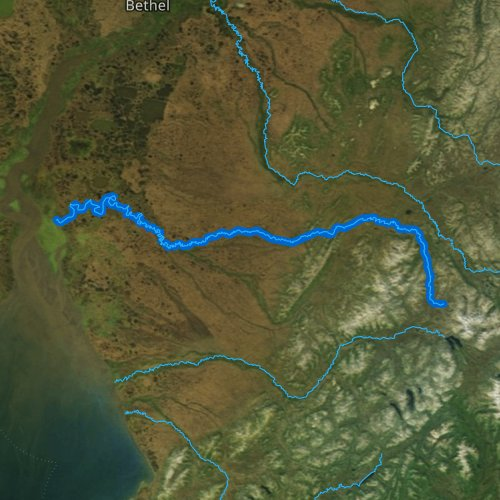 Fly fishing map for Eek River, Alaska