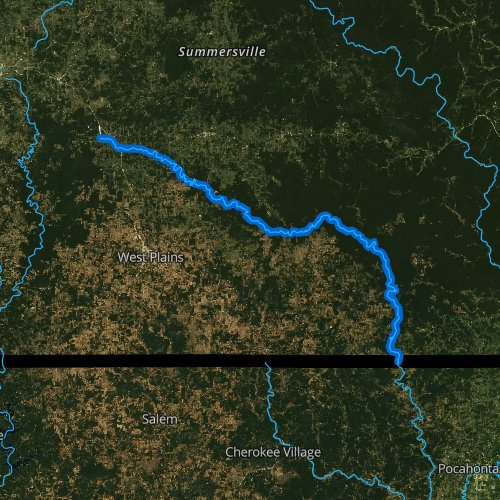 Fly fishing map for Eleven Point River, Missouri