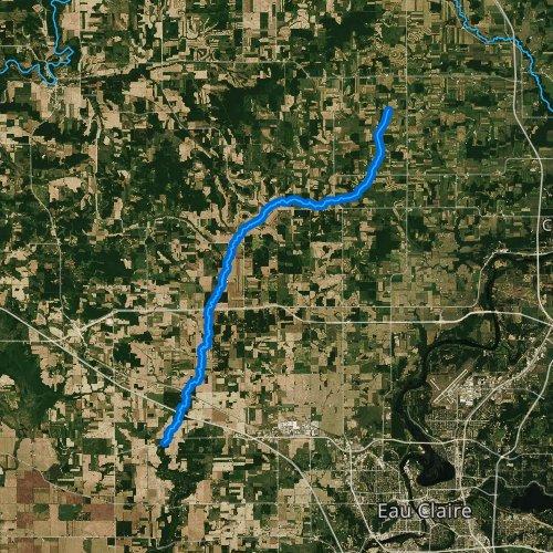 Fly fishing map for Elk Creek, Wisconsin