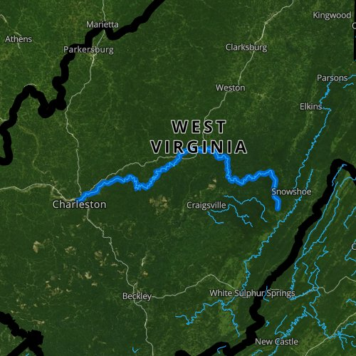Fly fishing map for Elk River, West Virginia