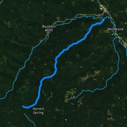 Fly fishing map for Farnsworth Branch, Pennsylvania