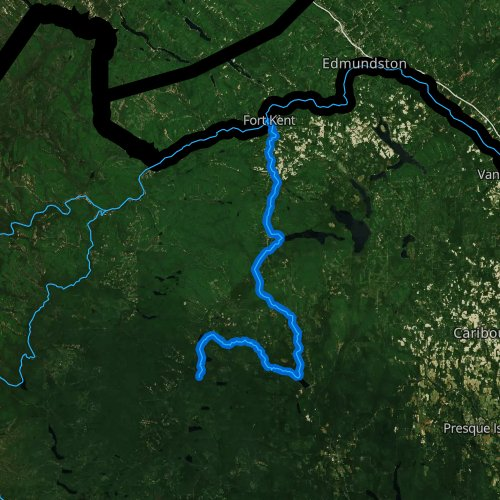Fly fishing map for Fish River, Maine