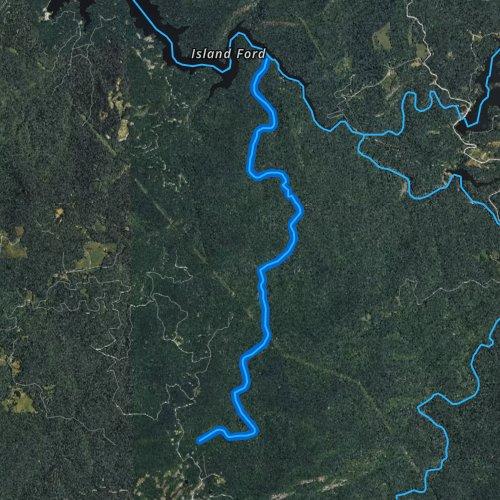 Fly fishing map for Flat Creek, North Carolina