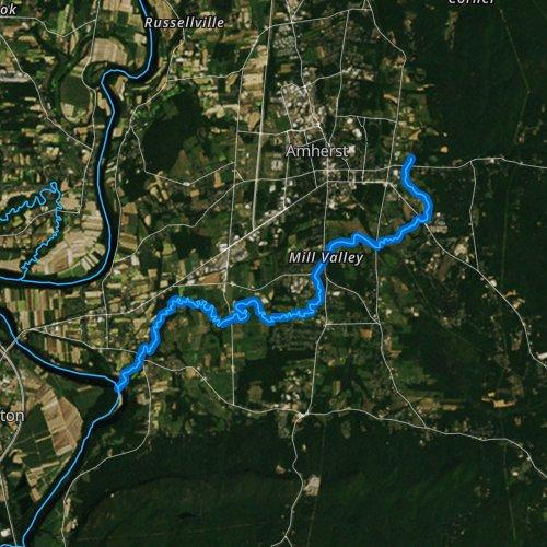 Fly fishing map for Fort River, Massachusetts