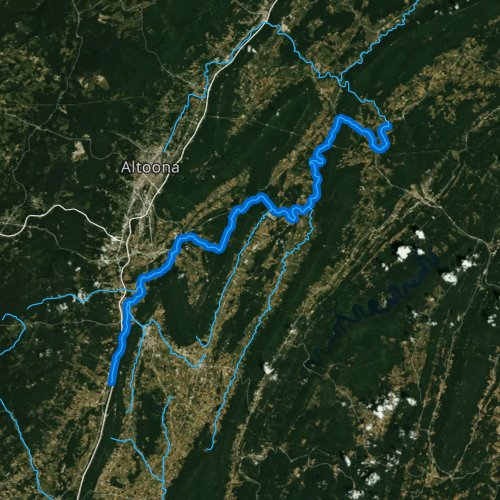 Fly fishing map for Frankstown Branch Juniata River, Pennsylvania