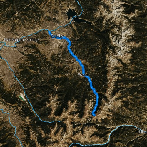 Fly fishing map for Fraser River, Colorado