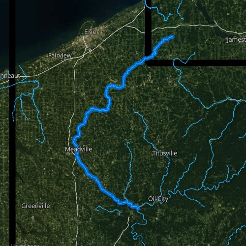 Fly fishing map for French Creek, Pennsylvania