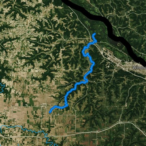 Fly fishing map for Garvin Brook, Minnesota