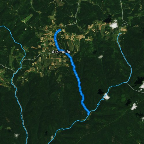 Fly fishing map for Germania Branch, Pennsylvania