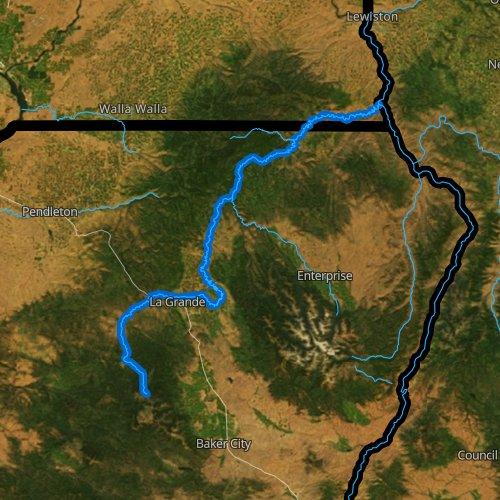 Fly fishing map for Grande Ronde River, Oregon