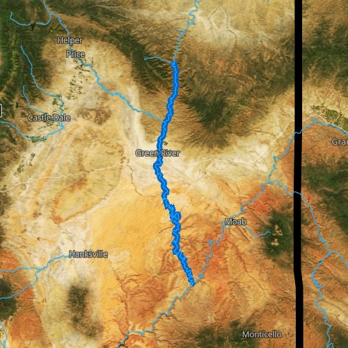 Fly fishing map for Green River: Lower, Utah