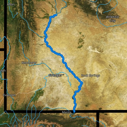 Fly fishing map for Green River: Lower, Wyoming
