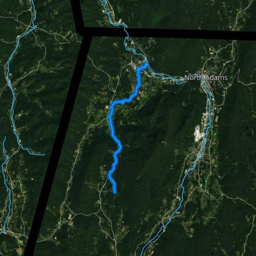 Fly fishing map for Green River, Massachusetts