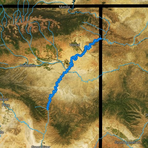 Fly fishing map for Green River: Middle, Utah