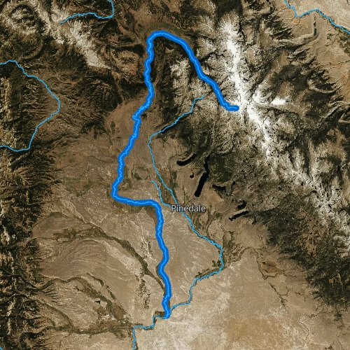 Fly fishing map for Green River: Upper, Wyoming