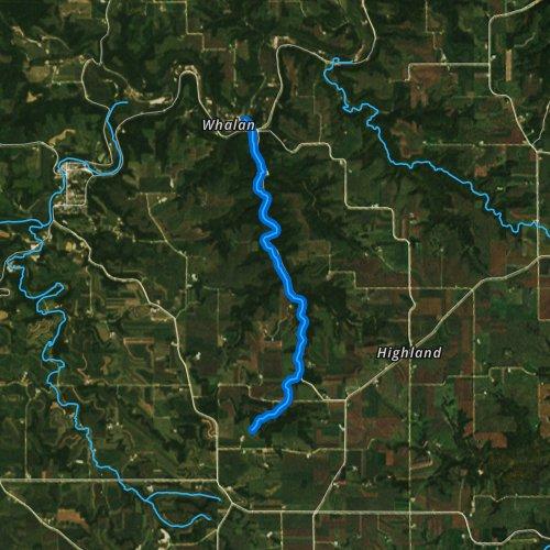 Fly fishing map for Gribben Creek, Minnesota