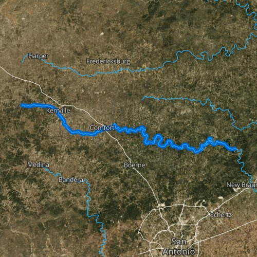 Fly fishing map for Guadalupe River: Upper, Texas