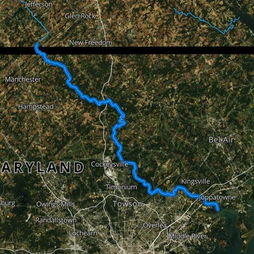 Fly fishing map for Gunpowder Falls, Maryland
