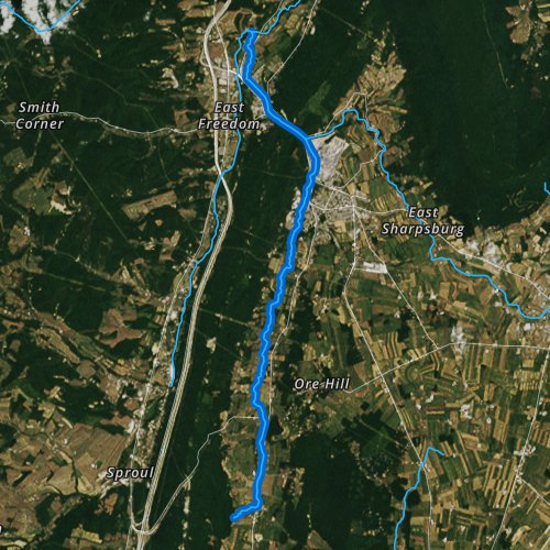 Fly fishing map for Halter Creek, Pennsylvania