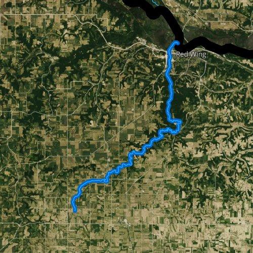 Fly fishing map for Hay Creek, Minnesota