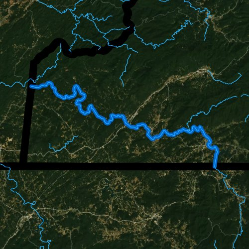Fly fishing map for Hiwassee River, North Carolina