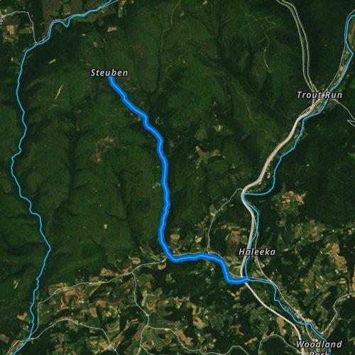 Fly fishing map for Hoagland Run, Pennsylvania