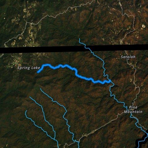Fly fishing map for Holcomb Creek, Georgia