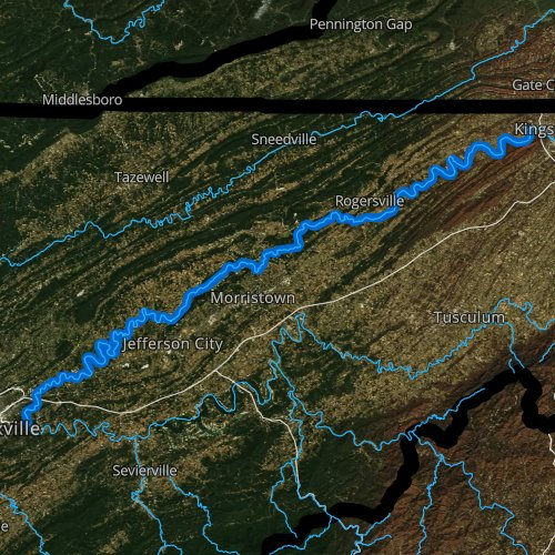 Fly fishing map for Holston River, Tennessee