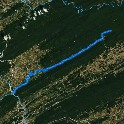 Fly fishing map for Honey Creek, Pennsylvania