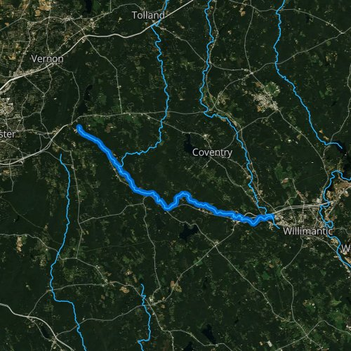 Fly fishing map for Hop River, Connecticut