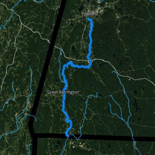 Fly fishing map for Housatonic River, Massachusetts