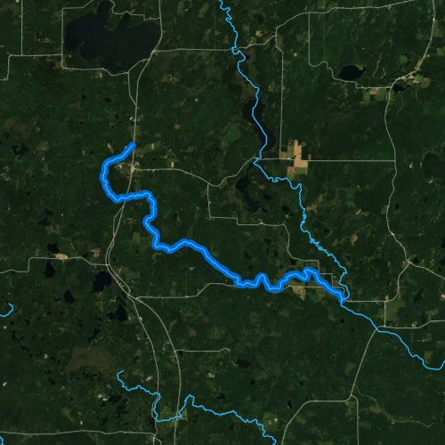 Fly fishing map for Hunting River, Wisconsin