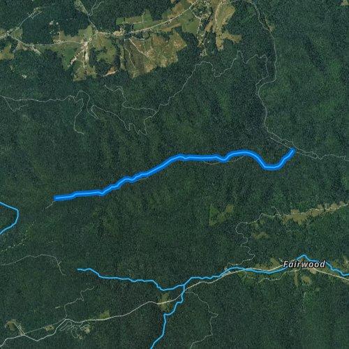 Fly fishing map for Hurricane Creek, Virginia