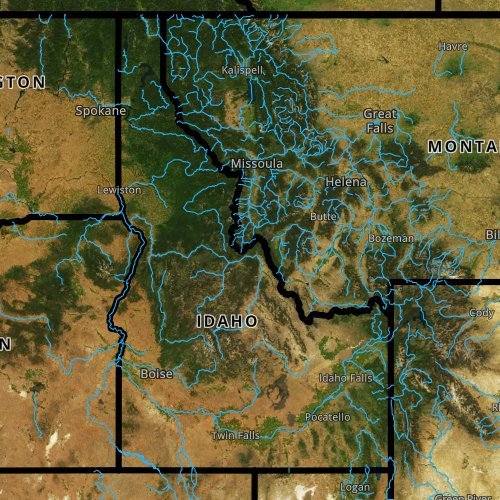 Fly fishing report and map for Idaho.