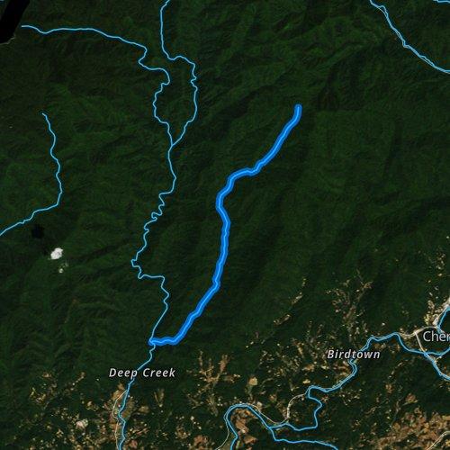 Fly fishing map for Indian Creek, North Carolina