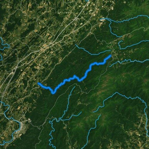 Fly fishing map for Irish Creek, Virginia