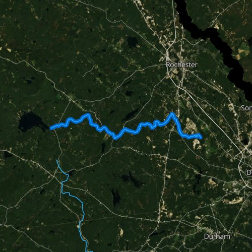 Fly fishing map for Isinglass River, New Hampshire