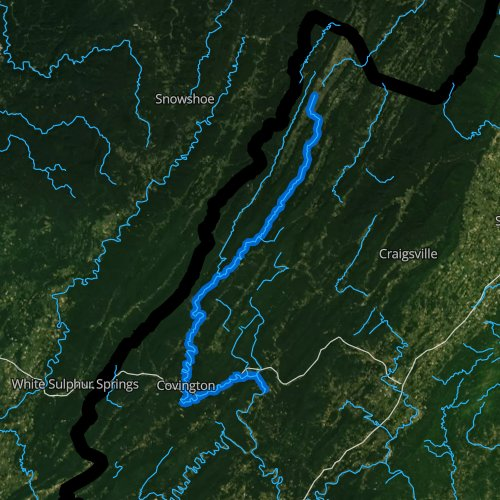 Fly fishing map for Jackson River, Virginia