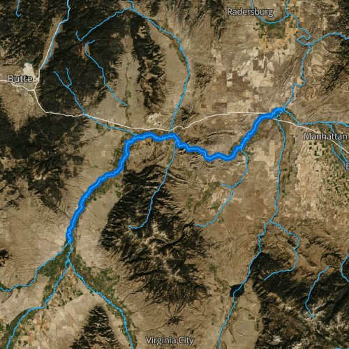 Fly fishing map for Jefferson River, Montana