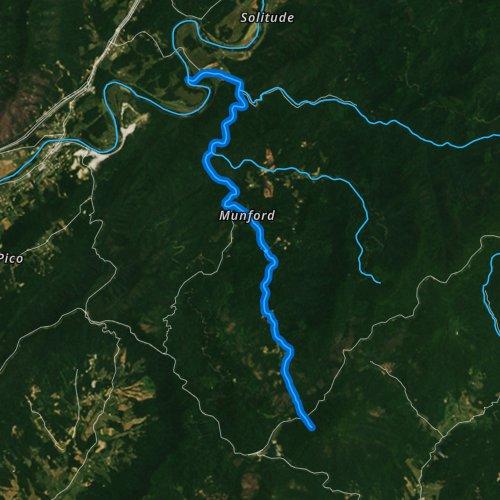 Fly fishing map for Jennings Creek, Virginia