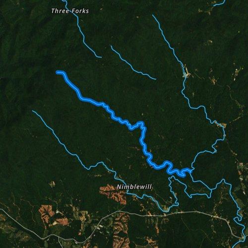 Fly fishing map for Jones Creek, Georgia