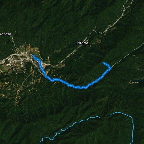 Fly fishing map for Junaluska Creek, North Carolina