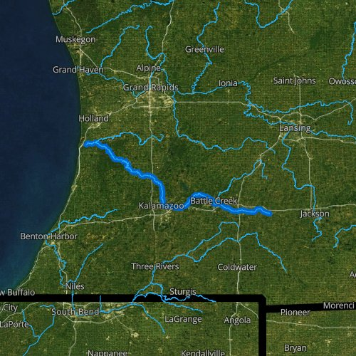 Fly fishing map for Kalamazoo River, Michigan