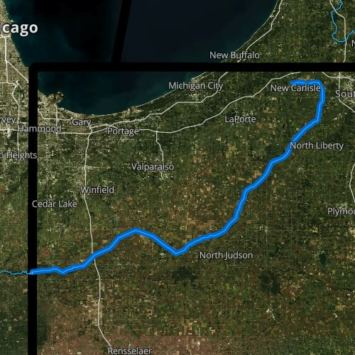 Fly fishing map for Kankakee River, Indiana