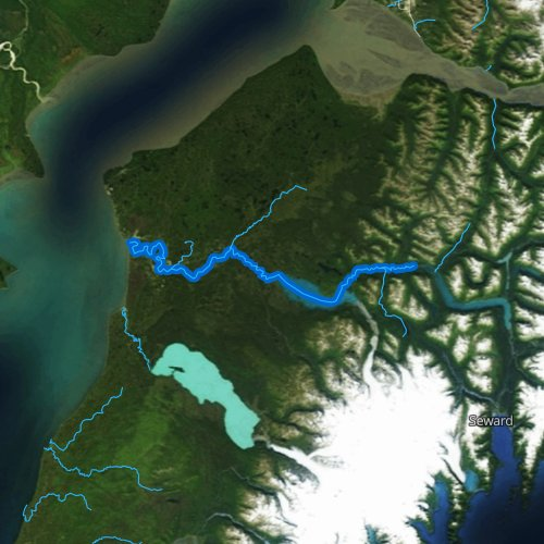 Fly fishing map for Kenai River, Alaska