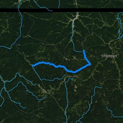 Fly fishing map for Kinzua Creek, Pennsylvania