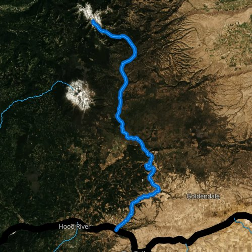 Fly fishing map for Klickitat River, Washington
