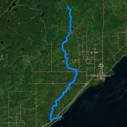 Fly fishing map for Knife River, Minnesota