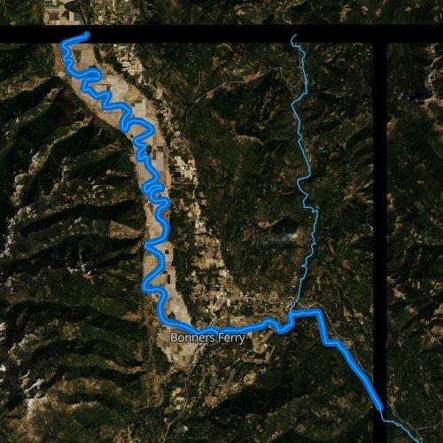 Fly fishing map for Kootenai River, Idaho