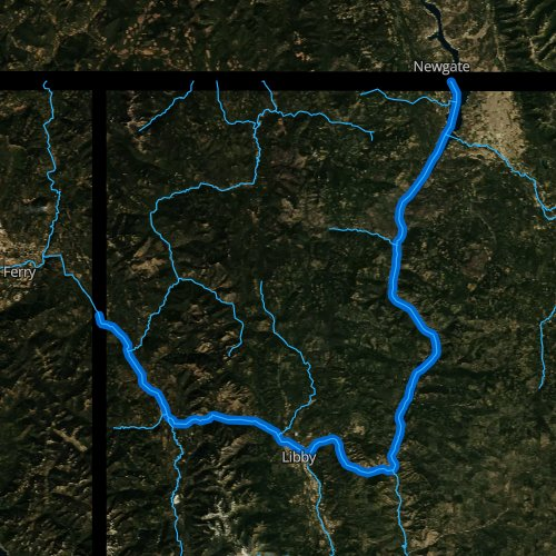 Fly fishing map for Kootenai River, Montana